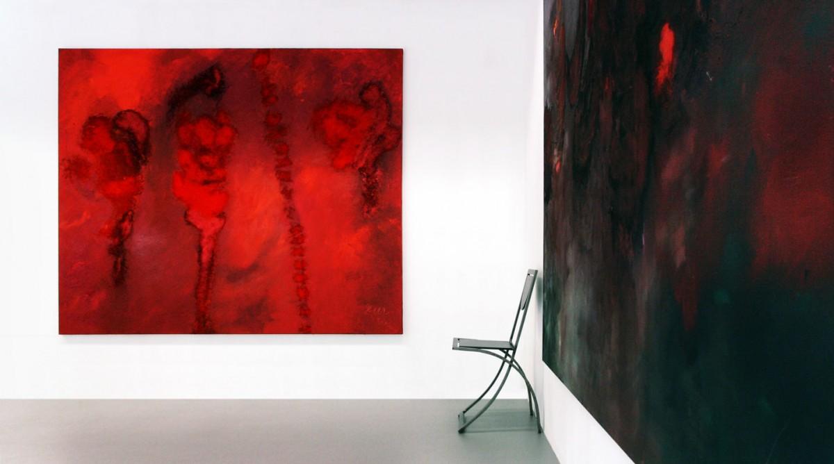 Öl/Pigment auf Leinwand, Ansicht der installierten Malereien.